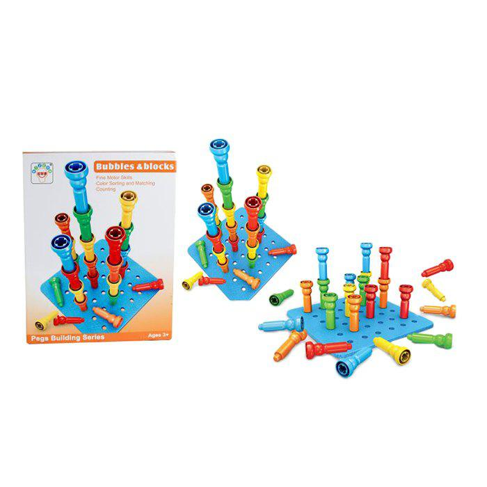 Educational Pegs Building Series Puzzle Assembling Creative Flexible Thinking Toys - BLUE EYES