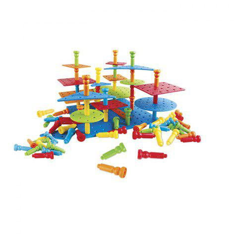 Pegs Building Series Puzzle Assembling Creative Flexible Thinking Toys - RED