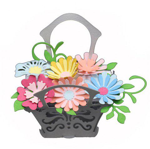 Flower Basket Pattern Embossing Cutting Dies for DIY Scrapbook Album Paper Card Making - SILVER