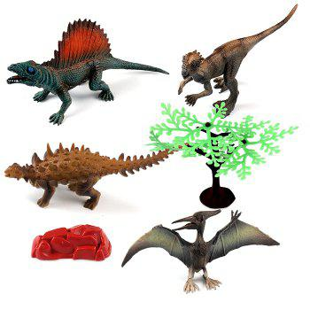 New Creative Dinosaur Model Toy Table Decoration Special Kids Gift 4pcs - multicolor A