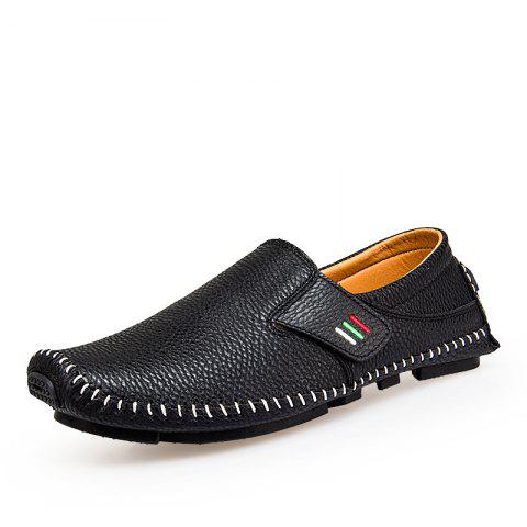 Men Chic Slip-on Casual Leather Shoes - BLACK 43