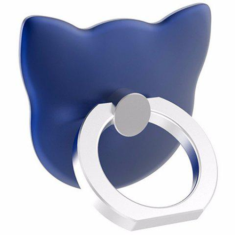 Cartoon Cat Head 360 Degree Finger Ring Mobile Phone Smartphone Stand Holder - BLUE