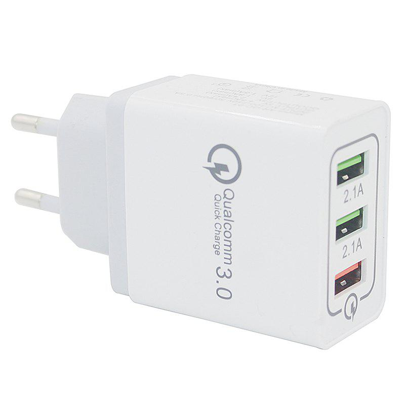 Minismile Qualcomm Quick Charge 3.0 3-Port Power Adapter Wall Fast Charger - WHITE
