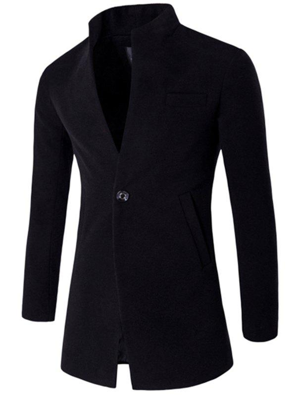 Male Fashion Stand Collar Wool Blazer Jacket - BLACK L
