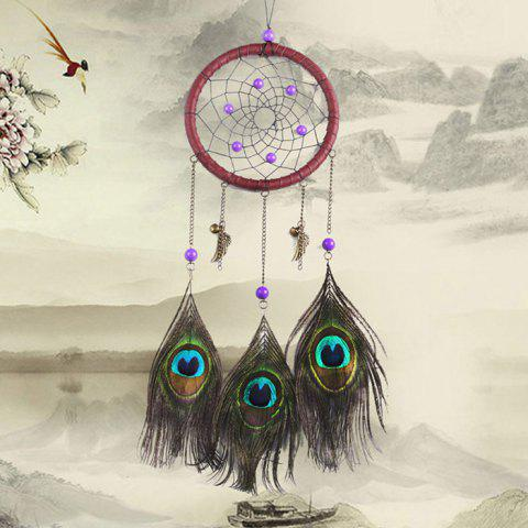 BMW063 Peacock Feather Dream Catcher Wind Chime for Decoration - multicolor