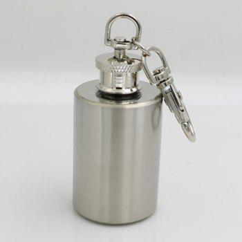 1 Ounce Stainless Steel Cylinder Shape Mini Wine Pot with Keychain - SILVER