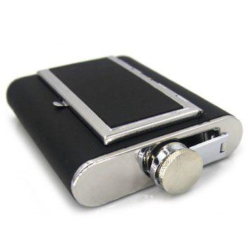 6 ounce Hip Flask Dual-use Portable Cigarette Case - BLACK