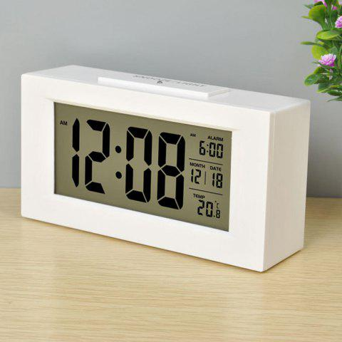 Large LCD Screen Digital Kickout Stand for Desk Display Temperature Date Snooze Alarm Clock - WHITE