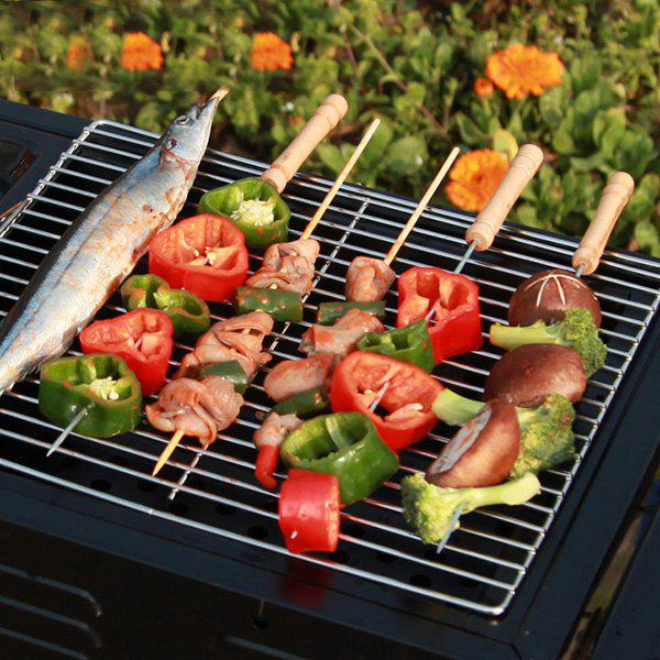 Zinc Alloy Barbecue Kebab Skewer with Wooden Handle 10PCs - WOOD
