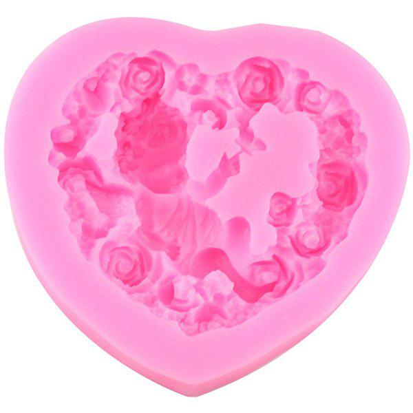 DIY Rose Heart Angel Baby Silicone Cake Mold - CARNATION PINK