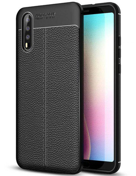 for Hawei P20 Case Litchi pattern Design Flexible Soft TPU Rubber  Cover shell - BLACK