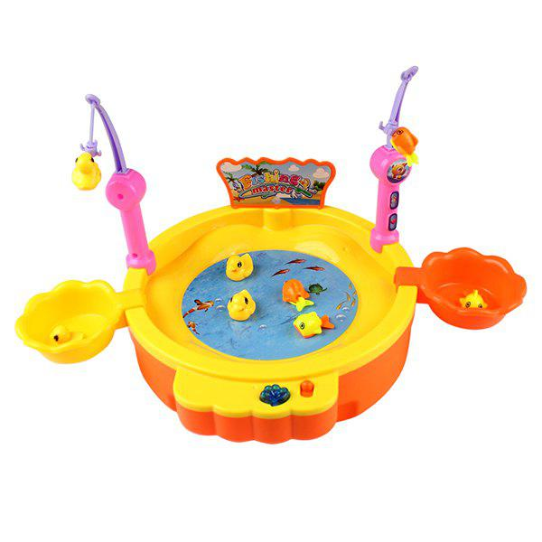 KM68015 Electric Magnetic Fishing Intelligent Set Toy for Children - YELLOW