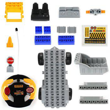 1802 2 in 1 1/18 4CH RC Car Building Blocks Puzzle Toy for Kids - YELLOW