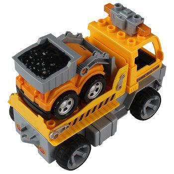 1804 DIY Puzzle Toy 4CH Car Engineering Vehicle Building Block for Children - YELLOW