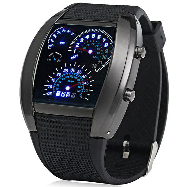 Rubber Band LED Car Watch / Table with Blue Light Display Time Arch Shaped - BLACK