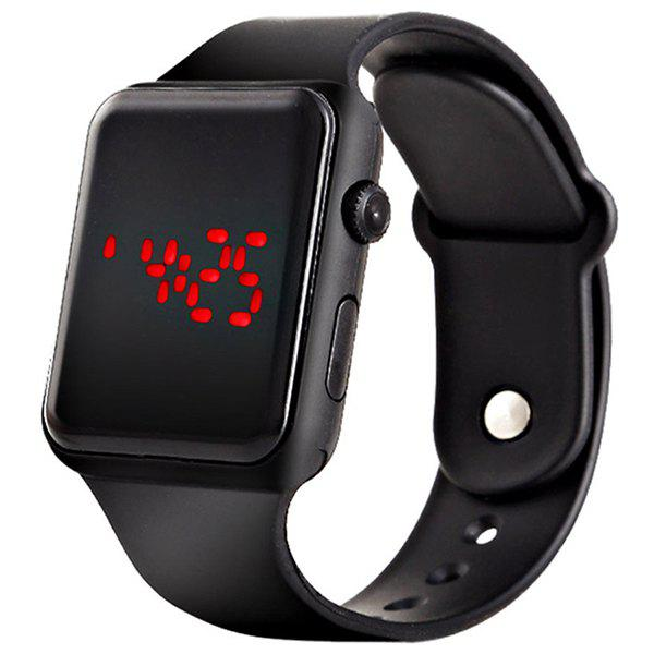 V5 Brand Unisex Rubber LED Date Sports Bracelet Digital Wrist Watch - BLACK