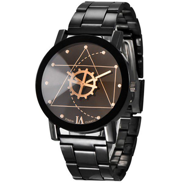 V5 Fashion Trendy Stainless Steel Band Men Watch - GUNMETAL