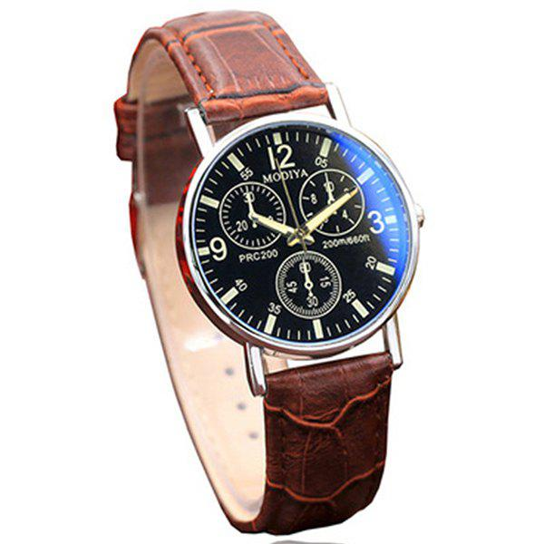 Men Luxury Leather Analog Quartz Business Wrist Watch - BROWN