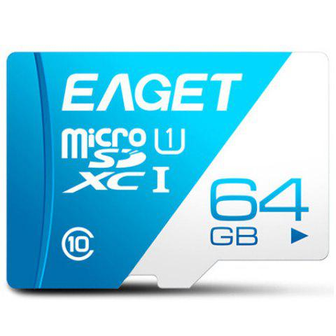 Carte TF Mémoire Micro SDHC UHS-I Flash à Heute Vitesse EAGET T1 Class 10 - Bleu Royal 64G