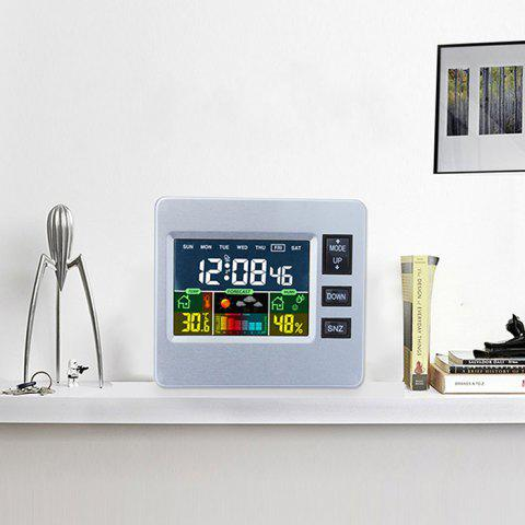 LCD Digital Temperature Humidity Weather Station Alarm Clock - SILVER