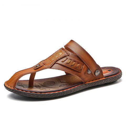 cc624b1d7 2019 Casual Microfiber Leather Flip-flops Slippers for Men In BROWN ...