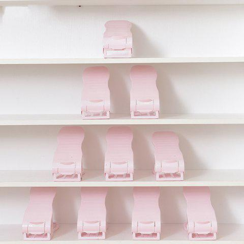 Second Generation Adjustable Mini Plastic Shoes Organizer for Home Storage 1PC - PINK
