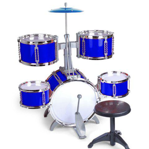 Large Drum Set avec chaise Percussion Music Instrument Kids Toy Gift - Bleu