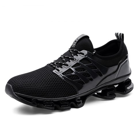 Breathable Lace-up Sports Shoes for Men - BLACK 45