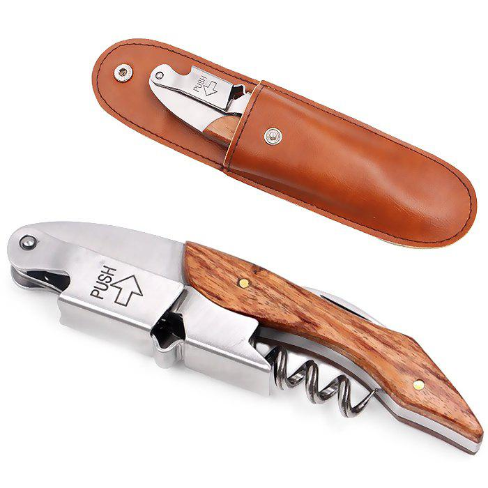 Classic Multi-function Bottle Opener with Leather Case - BROWN