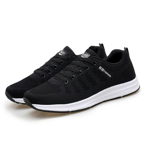 Fashion Breathable Men Casual Mesh Athletic Sneakers - BLACK 44