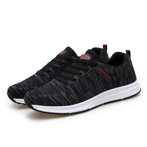 Fashion Breathable Men Casual Mesh Athletic Sneakers - CHESTNUT RED 39
