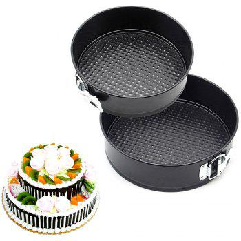 Durable Heat-resistant Loose Bottom Cake Mold 2pcs - BLACK