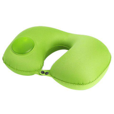 Multifunctional Casual Office Inflatable Pillow U-shaped Sleeping Tool - GREEN YELLOW