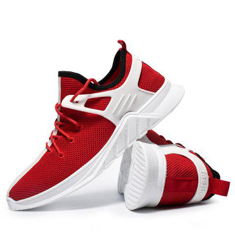 Men Daily Comfort Fashion Mesh Fabric Sneakers - CHESTNUT RED 39