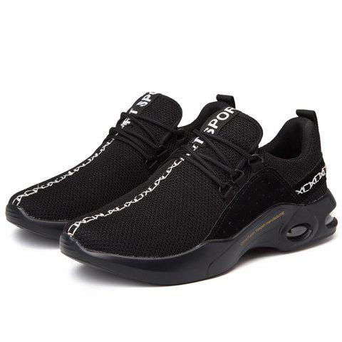 Men Comfort Fashion Mesh Fabric Sneakers - BLACK 42