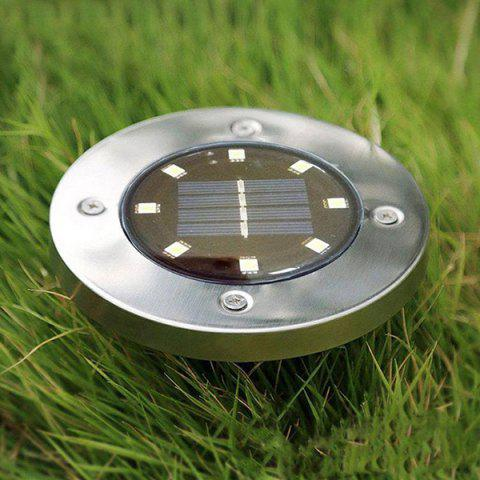 8 LED Solar Lawn Light Decor - SILVER WHITE LIGHT