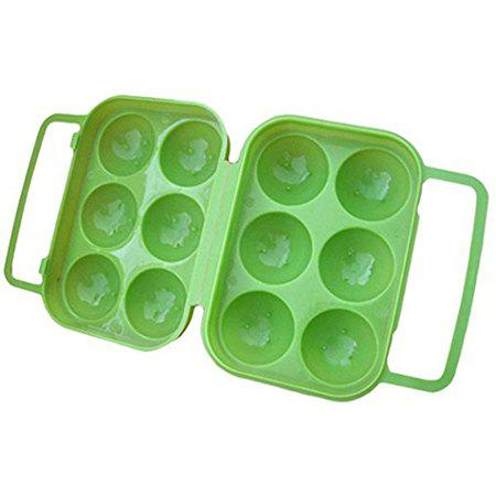 Outdoor Picnic Portable Plastic 6 Case Egg Box - GREEN
