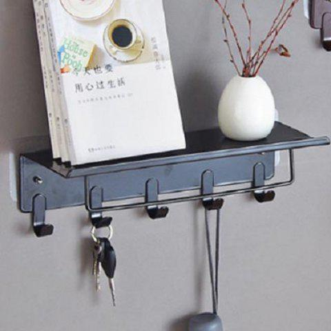 Punch-free Retro Iron Storage Rack Vintage Adhesive Shelf - BLACK