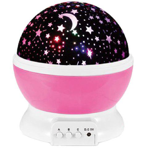 LED Auto Rotating Starry Projection Lamp Night Light - HOT PINK