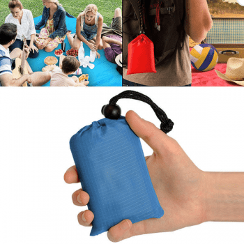 Folding Portable Waterproof Picnic Handy Pocket Mat for Travel Camping Beach with Storage Bag - BLUE KOI