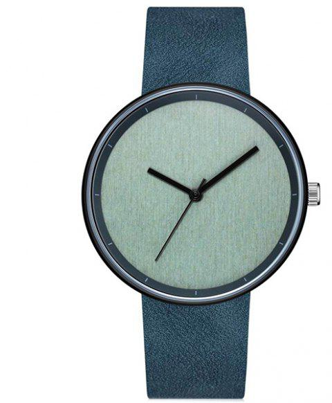 GAIETY Men's Casual Stripe Dial Leather Band Dress Watch G538 - BLUE