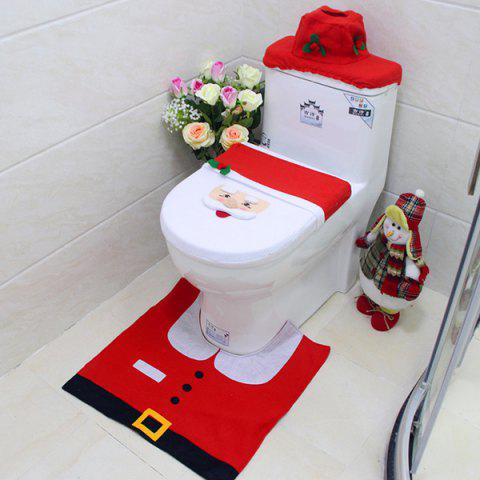 Christmas Styling Bathroom Decoration Kit with Carpet / Radiator Cap / Toilet Seat - RED