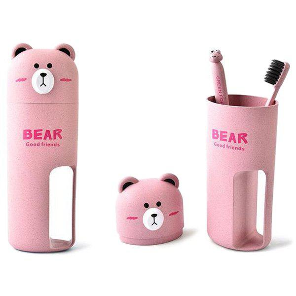 Wheat Fiber Bear-shape Toothbrush Case Portable Lightweight Washing Cup Set - PINK