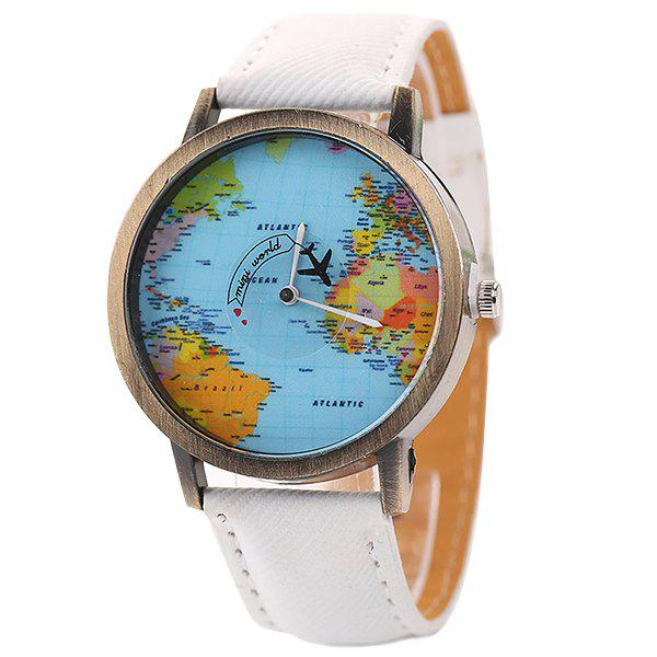 XR1105 Men Simple Vintage Jean Canvas with PU Band Map Watch - WHITE