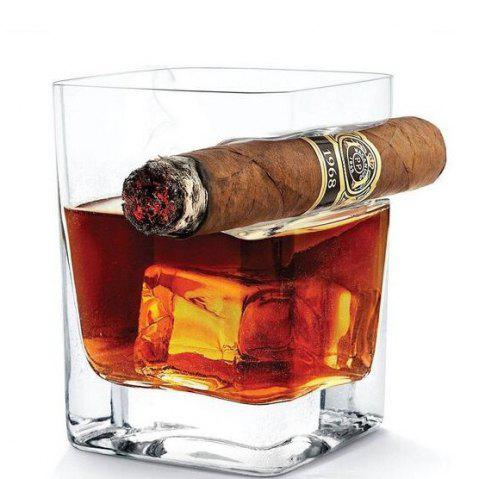 Creative Whisky Wine Cup with Cigar Holding Groove - TRANSPARENT
