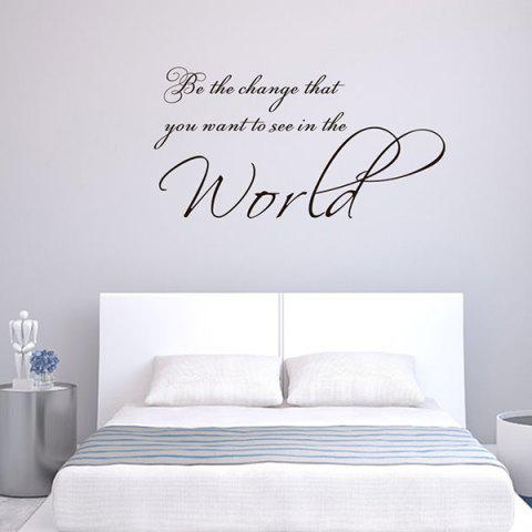 World Letter Creative Style Wall Sticker for Living Room Bedroom - BLACK