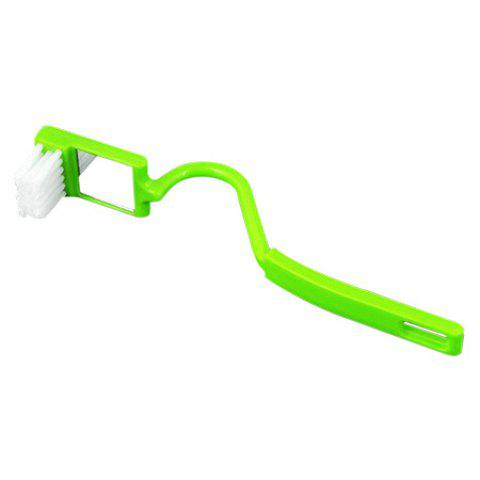 Portable Curved Toilet Sink Cleaner Corner Rim Cleaning Brush with Mirror - YELLOW GREEN