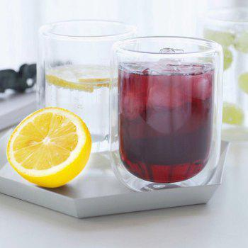 17 Pin 400ml Large Capacity Double-layer Glass Cup 2pcs - TRANSPARENT