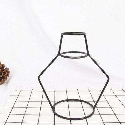 Creative Simple Iron Mini Flower Frame Vase Decoration - BLACK 16 X 10 X 18CM