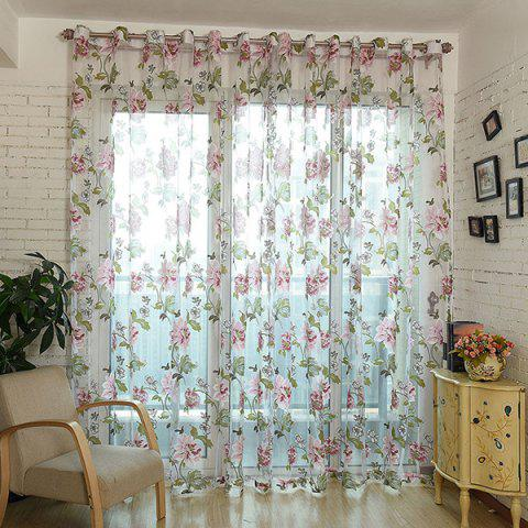 Flower Pattern Window Screen Sheer Curtain with Stick Holes - PERIWINKLE